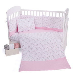 Σετ Προίκας Μωρού για Κούνια 5τμχ 60χ120cm Kikkaboo Pink Flowers