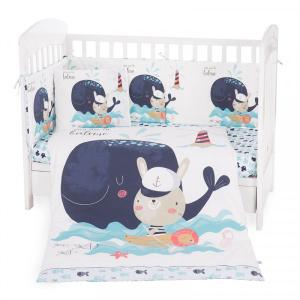 Σετ Προίκας Μωρού για Κούνια 6τμχ 70χ140cm Kikkaboo Happy Sailor