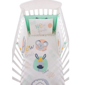 Σετ Προίκας Μωρού για Κούνια 6τμχ 60χ120cm Kikkaboo New Friends